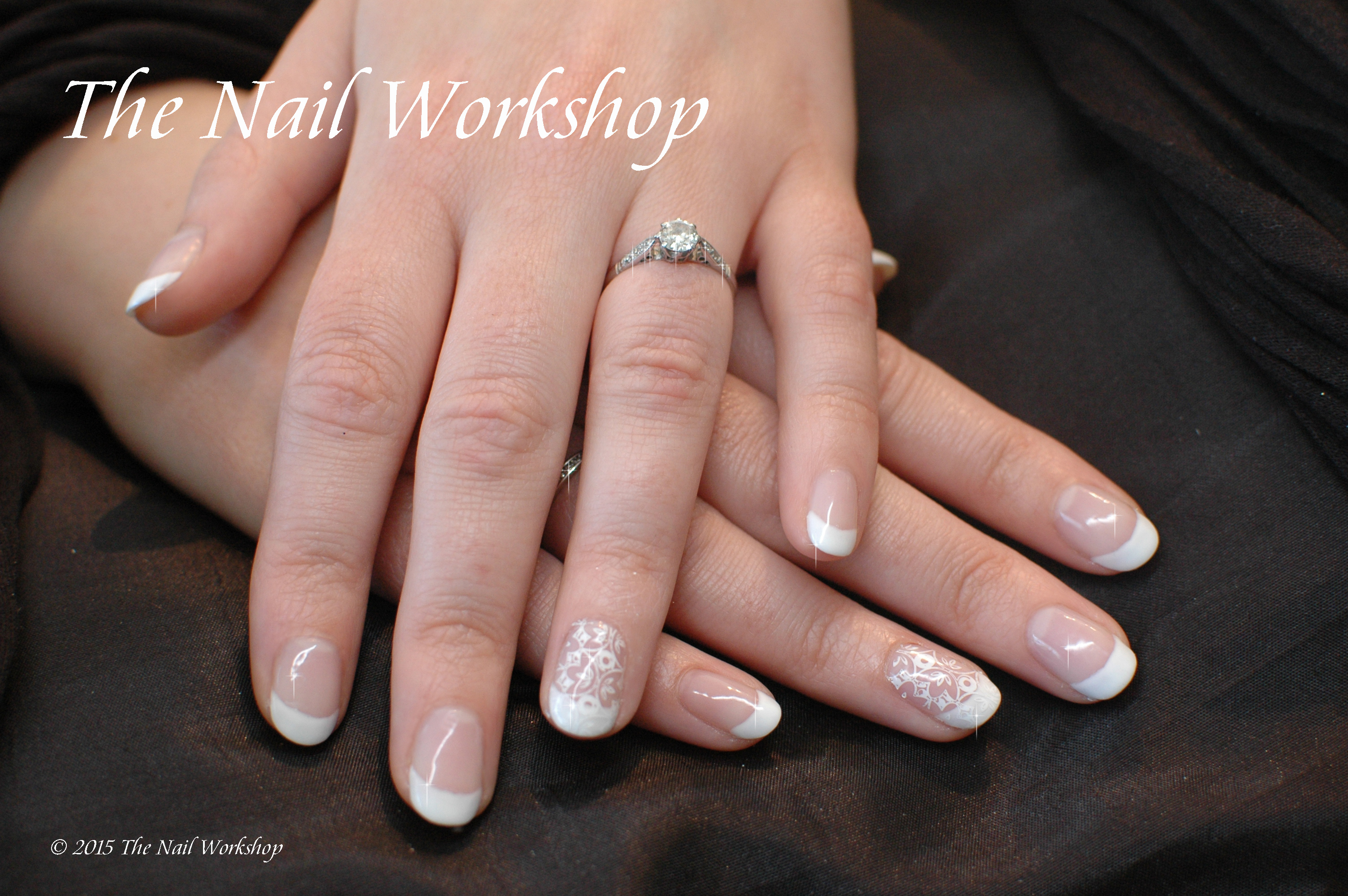 Wedding Nails Natural French with lace stamping