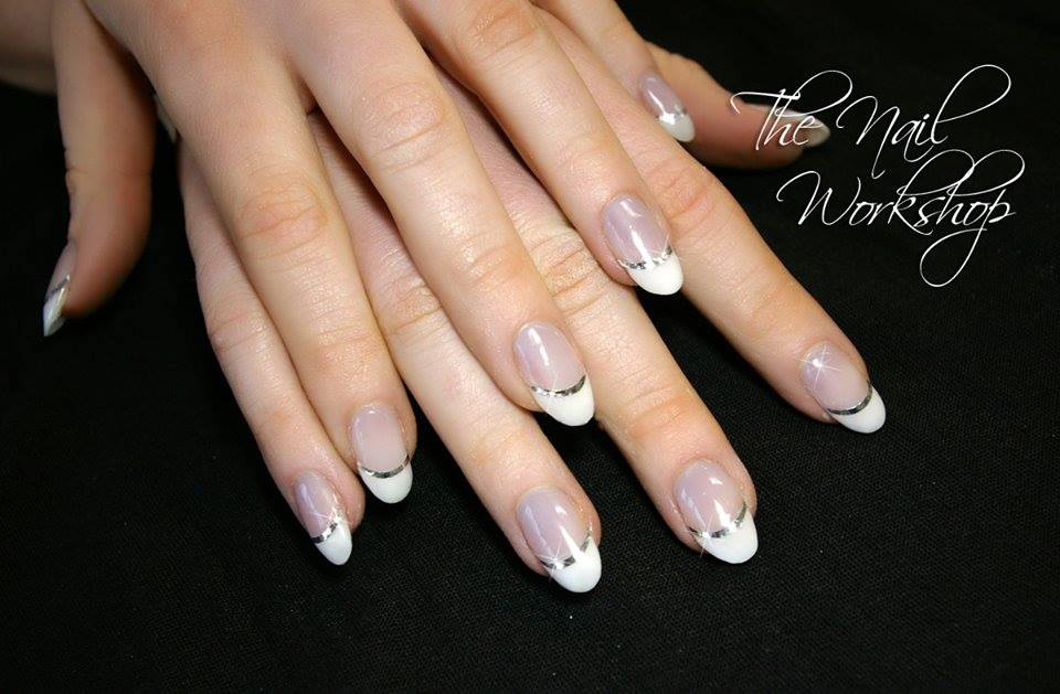 Wedding Nails French and silver